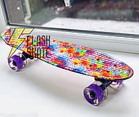 Скейт Пенни борд Penny Board Принт 22 LED колеса - Пенні борд 54 см
