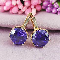 Серьги Xuping Jewelry Триша фиолет медицинское золото позолота 18К + родий английский замок А/В 1-0360