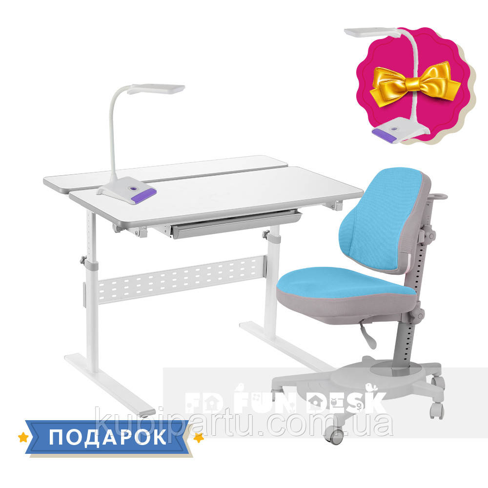 Комплект парта FunDesk Colore Grey + эргономичное кресло FunDesk Agosto Blue