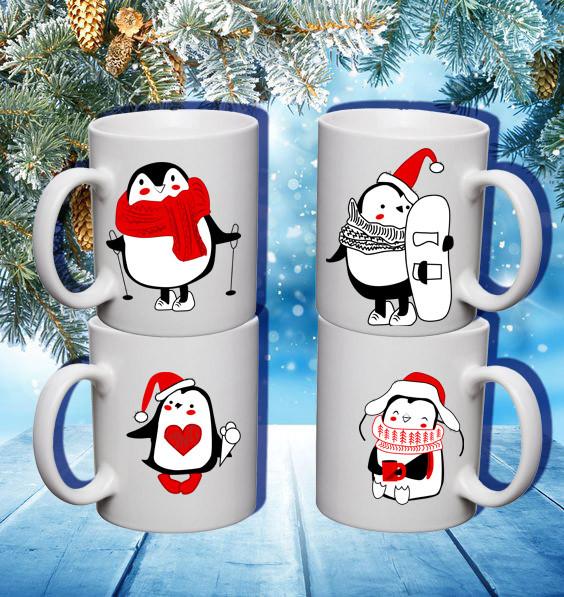 """Семейные белые чашки (кружки) с принтом """"Пингвины. Зима"""""""