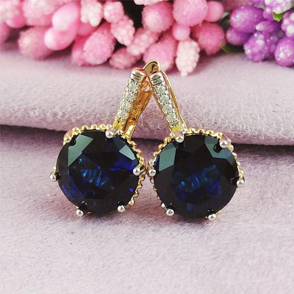 Серьги Xuping Jewelry Триша синие медицинское золото позолота 18К + родий английский замок А/В 1-0362