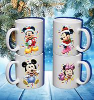 """Семейные белые чашки (кружки) с принтом """"Маусы. Новый Год"""""""