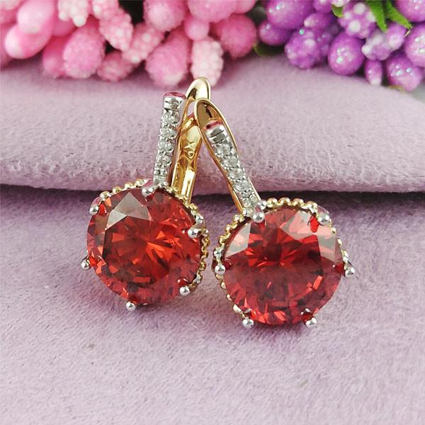 Серьги Xuping Jewelry Триша красные медицинское золото позолота 18К + родий английский замок А/В 1-0363
