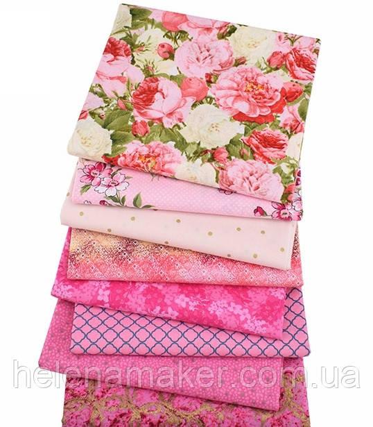 Квітковий набір тканини для рукоділля в помаранчевому кольорі - 8 відрізів 25*25 см