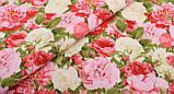 Квітковий набір тканини для рукоділля в помаранчевому кольорі - 8 відрізів 25*25 см, фото 3