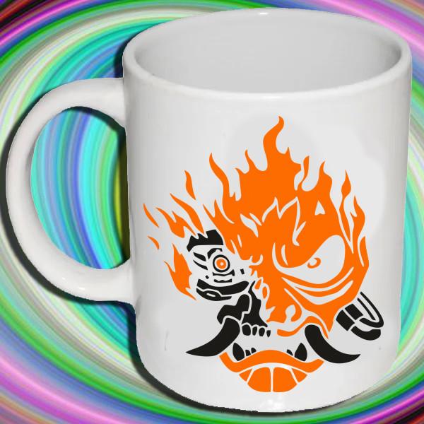 """Біла кружка (чашка) з принтом """"Лого Cyberpunk 2077 року"""""""
