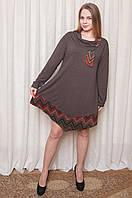 Туника женская углом ,/коричневая/8023, размеры 60,62,64, фото 1