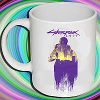 """Біла кружка (чашка) з принтом """"Cyberpunk 2077 року"""""""