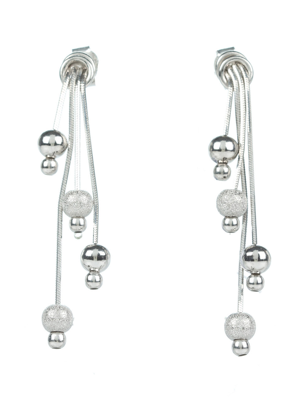 Серьги серебряные с двойной цепочкой и шариками