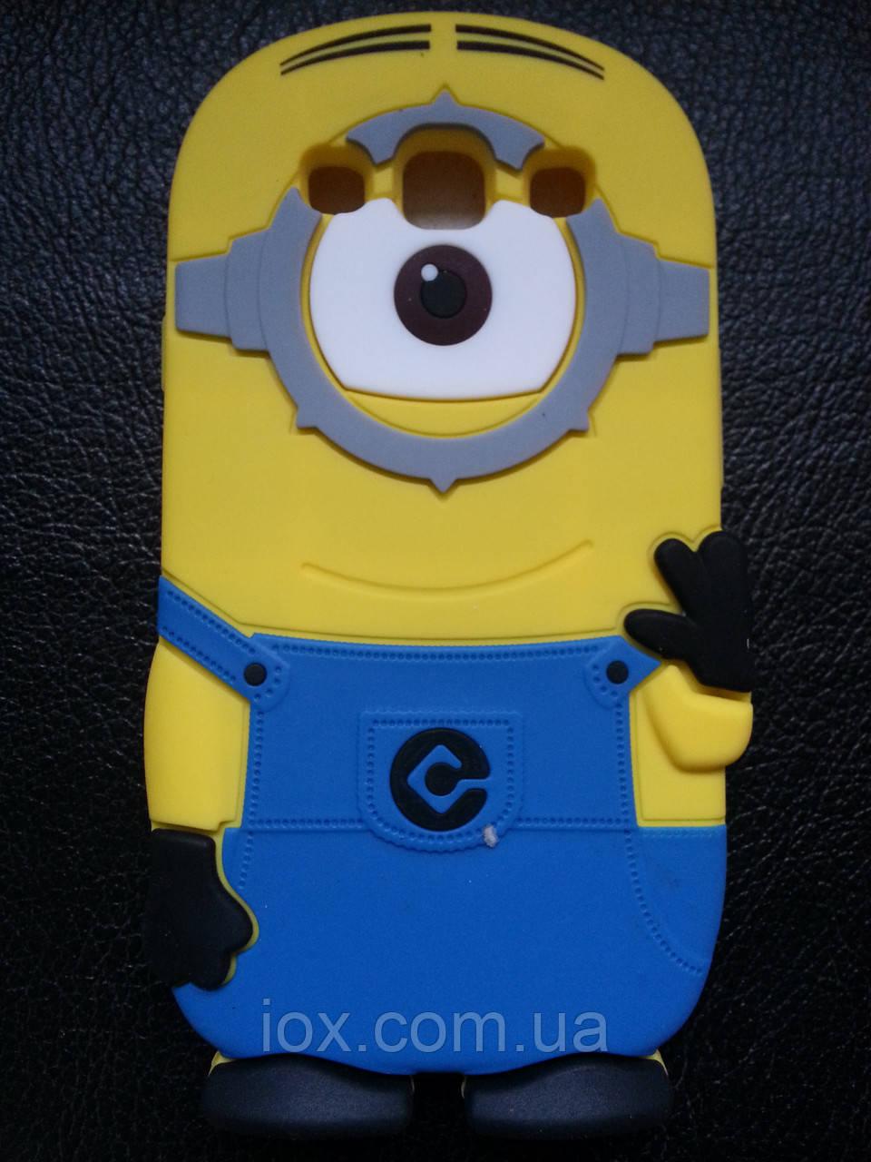 """Силиконовый чехол """"Миньон"""" на Samsung Galaxy S3 i9300 голубой комбенизон"""