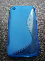 Стильный синий силиконовый чехол для Iphone 3