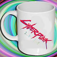 """Біла кружка (чашка) з принтом """"Cyberpunk (напис)"""""""