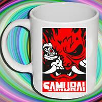 """Біла кружка (чашка) з принтом """"Cyberpunk (Samurai)"""""""