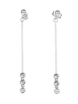 Серьги серебряные с алмазными шариками