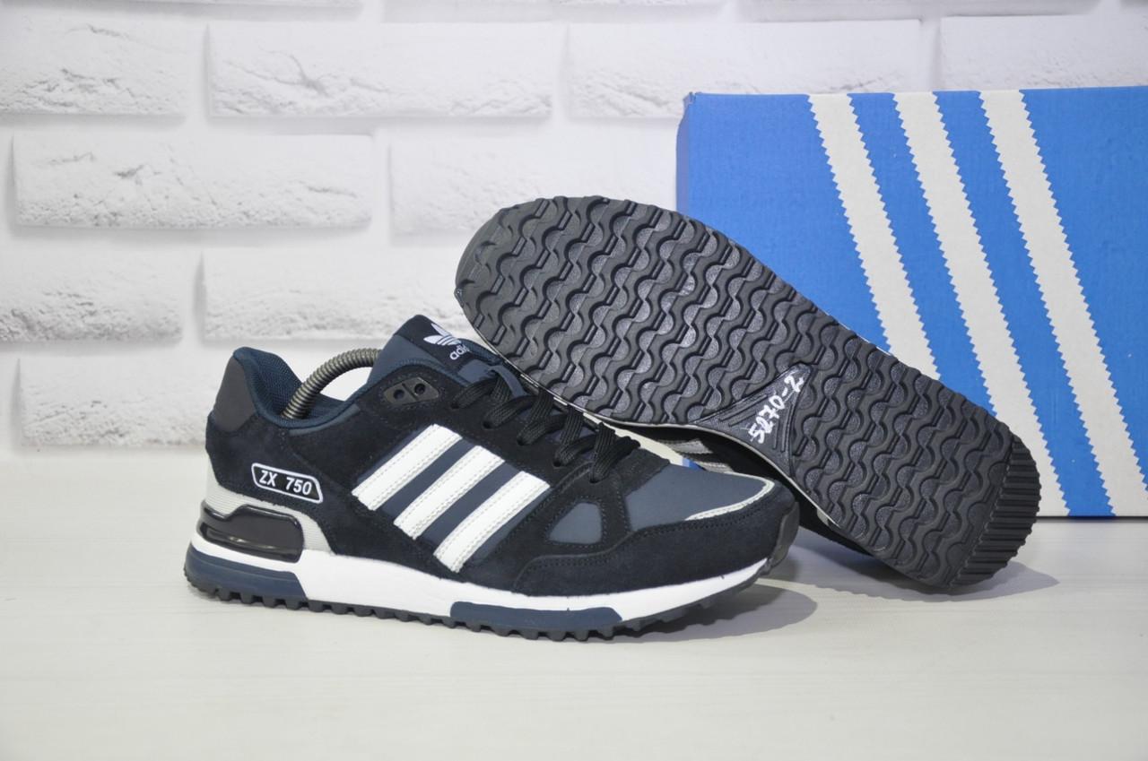 Мужские демисезонные кроссовки натуральный замш и нубук в стиле Adidas ZX 750