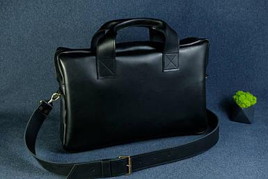 Кожаная мужская сумка Стивен, натуральная кожа итальянский Краст цвет Черный