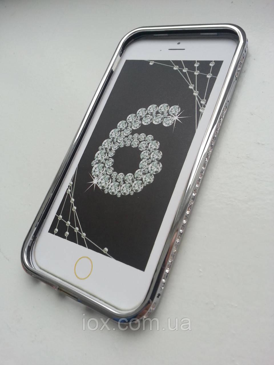 Серебряный бампер для Iphone 6 с камнями Сваровски