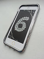 Серебряный бампер для Iphone 6 с камнями Сваровски, фото 1