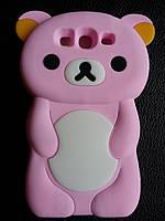 Розовый силиконовый мишка Samsung Galaxy S3 i9300, фото 1