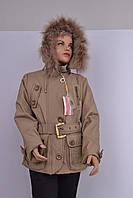 Л-91 Куртка зимняя  для девочки рост 152 и 158  бежевая, фото 1