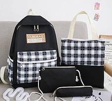 Большой тканевый набор 4в1 в клетку Рюкзак, сумка, косметичка, пенал, фото 2