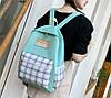 Большой тканевый набор 4в1 в клетку Рюкзак, сумка, косметичка, пенал, фото 3