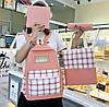 Большой тканевый набор 4в1 в клетку Рюкзак, сумка, косметичка, пенал, фото 4