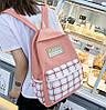 Большой тканевый набор 4в1 в клетку Рюкзак, сумка, косметичка, пенал, фото 5