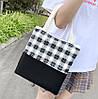Большой тканевый набор 4в1 в клетку Рюкзак, сумка, косметичка, пенал, фото 6