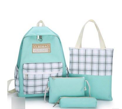 Большой тканевый набор 4в1 в клетку Рюкзак, сумка, косметичка, пенал