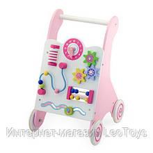 Дитячі ходунки-каталка Viga Toys з бизибордом, рожевий (50178)