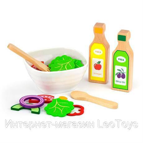 Іграшкові продукти Viga Toys Набір для салату з дерева, 36 ел. (51605)
