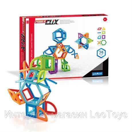 Магнитный конструктор Guidecraft PowerClix Frames, 74 детали (G9201)