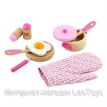 Дитячий кухонний набір Viga Toys Іграшкова посуд з дерева, рожевий (50116)