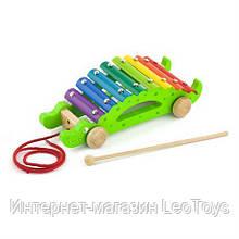 Дерев'яний ксилофон-каталка Viga Toys Крокодил (50342)