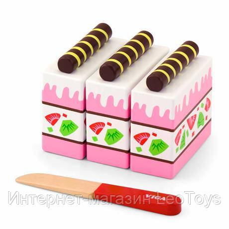 Игрушечные продукты Viga Toys Деревянный клубничный торт (51324)