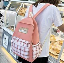 Стильний рюкзак в клітку для школи, фото 3