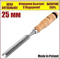 Стамеска полукруглая 25 мм деревянная ручка Yato YT-62826, фото 1
