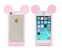 Розовый силиконовый бампер для Iphone 5/5S