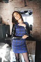 Платье женское синее В клетку