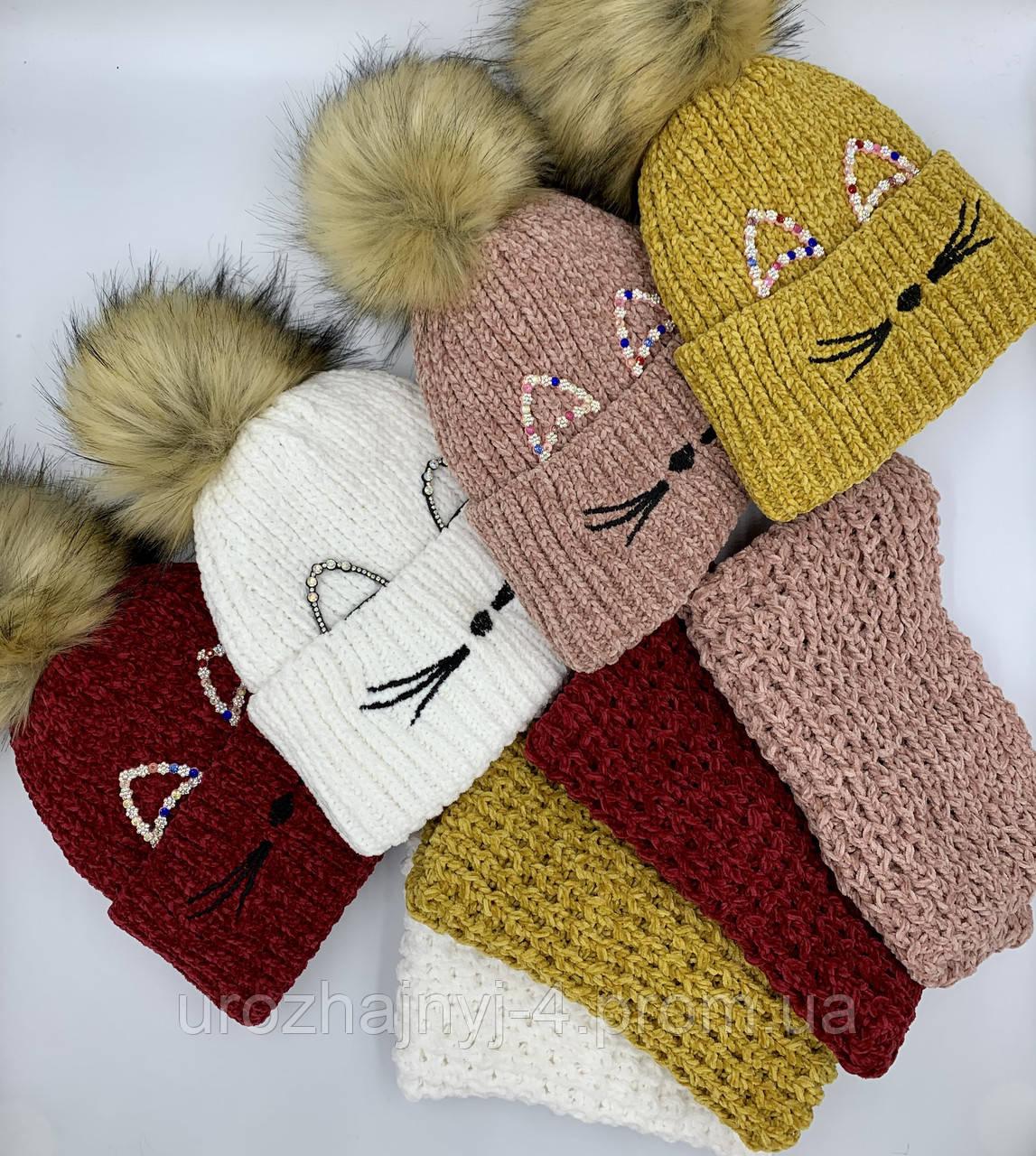 Вязаная шапка для девочек р52-54 подкладка флис