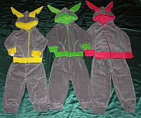 Детский костюм Ушки серый велюр