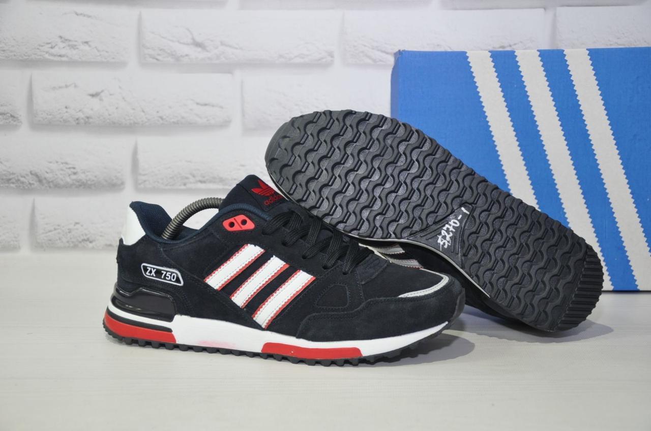 Мужские демисезонные кроссовки натуральный замш синие стиле Adidas ZX 750