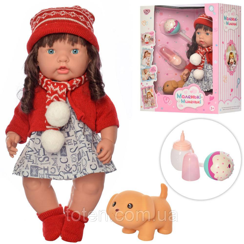 Лялька 40 см, пляшечка, пищалка, льодяник, п'є-обсикається M 4334 UA