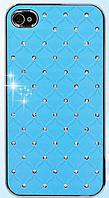 Голубой чехол c камнями на iphone 4/4s