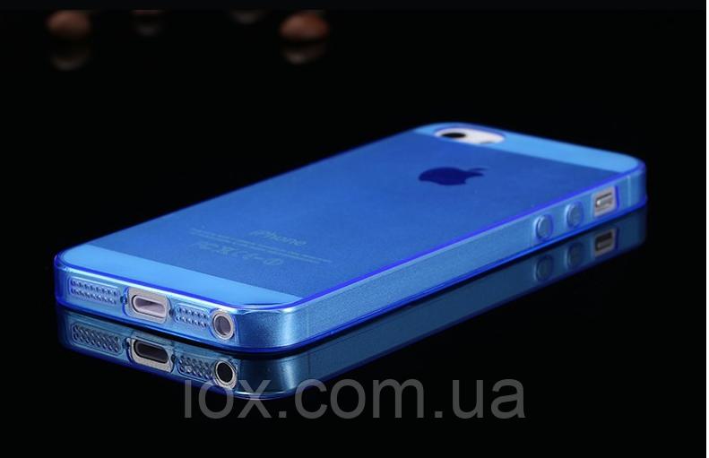 Силіконовий прозоро-блакитний чохол для Iphone 5/5S