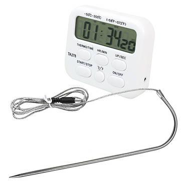 Цифровой термометр с таймером и сигнализатором с выносным датчиком до 300 градусов (нержавейка), фото 2