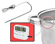 Цифровой термометр с таймером и сигнализатором с выносным датчиком до 300 градусов (нержавейка), фото 3