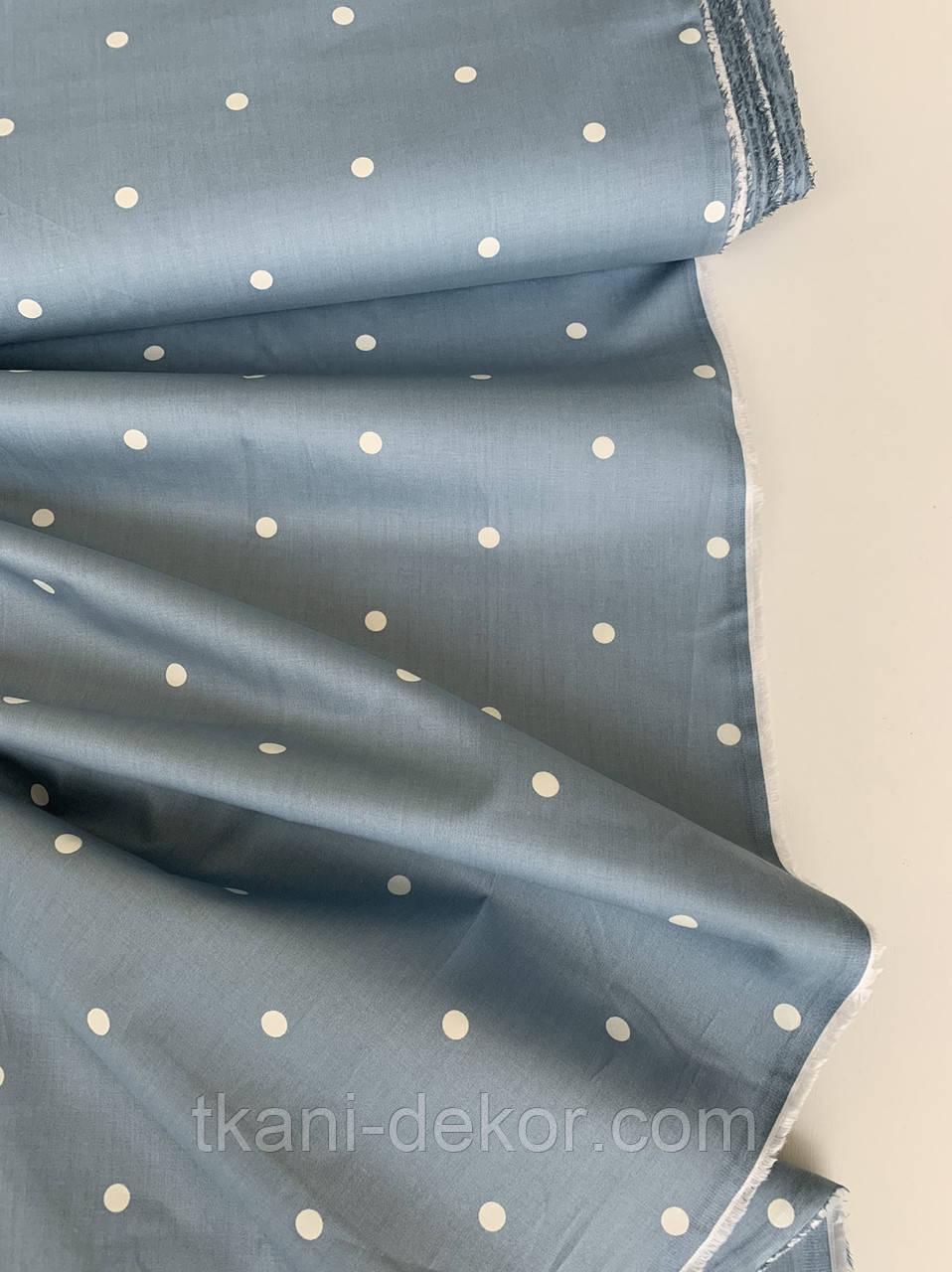 Сатин (бавовняна тканина) горошок на сіро-зеленому