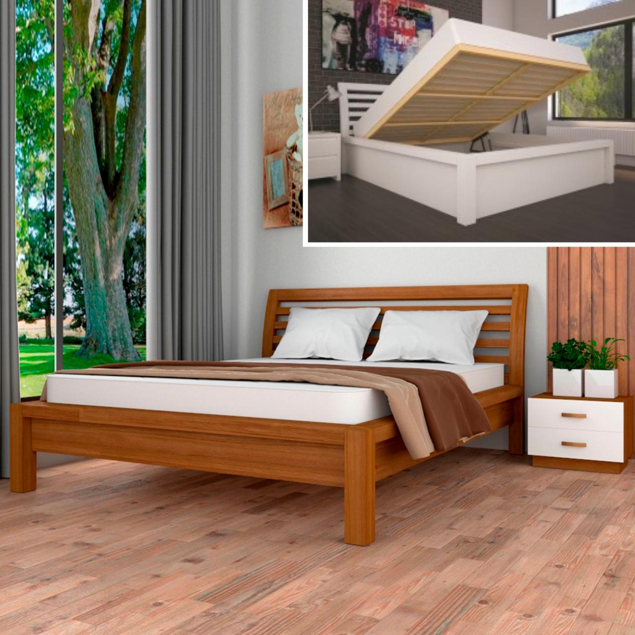 Кровать деревянная Офелия двуспальная с подъемным механизмом